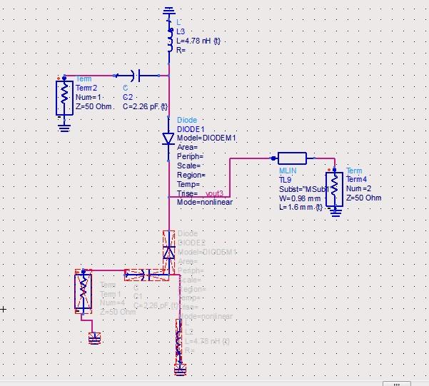 (因为二极管反向电阻很大),由于这个网络是单平衡混频器的匹配电路